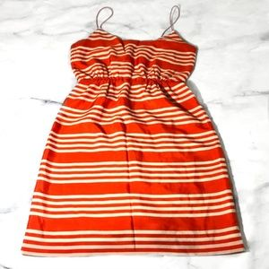 J. Crew Orange & Cream Printed Blouson Tank Dress